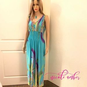 Women's Teal & Purple Feather Maxi dress SZ XL
